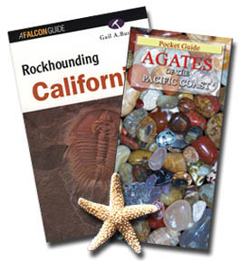 Pocket guide - Agates of the Pacific Coast plus Rockhounding California - By Gail A. Butler: for a site-by-site guide to Patrick's Point, Jade Cove, Moonstone Beach and more. In Stock for immediate shipping.  Save on shipping of this package, with - 4FACETS.com FREE Shipping to U.S. destinations by USPS media mail, just $19.95