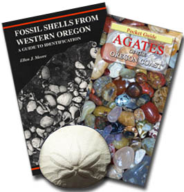 OREGON BEACHCOMBER'S SPECIAL - both of the above field guides: the Agates of the Oregon Coast and Fossil Shells From Western Oregon handbooks of locations with photos for identification of what you are likely to find beachcombing. Shipped as one parcel! In Stock for immediate shipping, Save on shipping of this package, with - 4FACETS.com FREE Shipping to U.S. destinations by USPS media mail. $17.00.